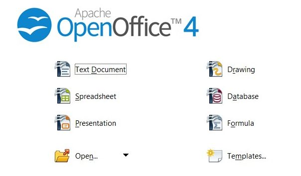 Open Office welcome screen