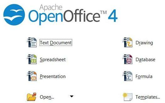 Zaslona dobrodošlice sustava OpenOffice
