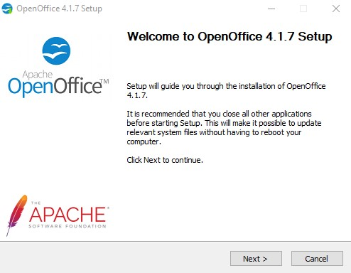 Open Office installation wizard 1