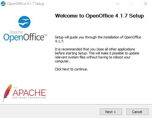 Майстер встановлення OpenOffice 1