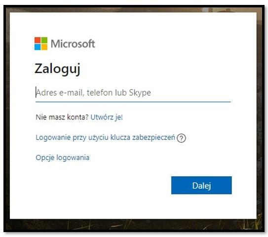 Strona logowania Microsoft