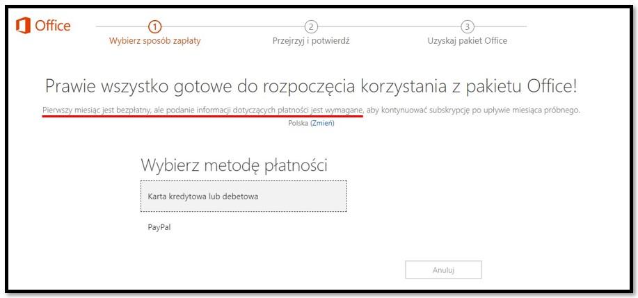 Pierwszy miesiąc Office 365 jest bezpłatny