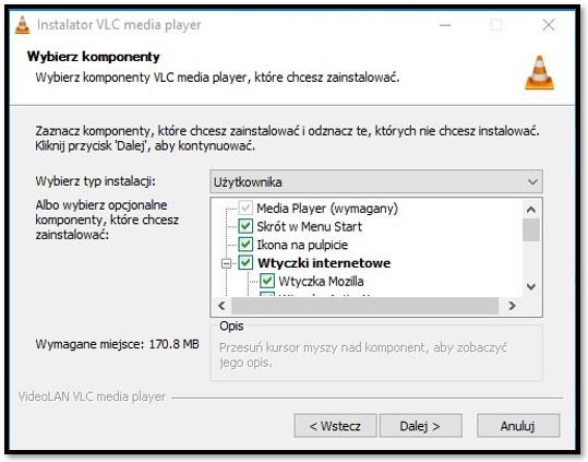 Opcje konfiguracji VLC