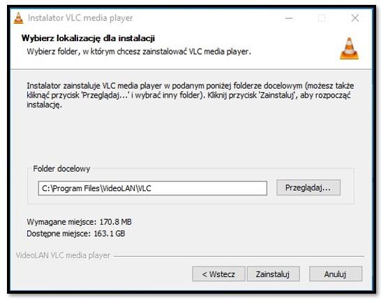 Lokalizacja instalacji VLC