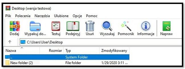 Ekran główny WinRAR