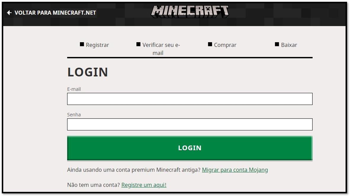 Criar conta no Minecraft