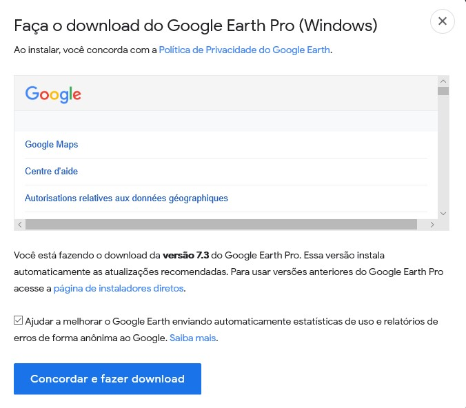 Faça o download do Google Earth Pro para Desktop