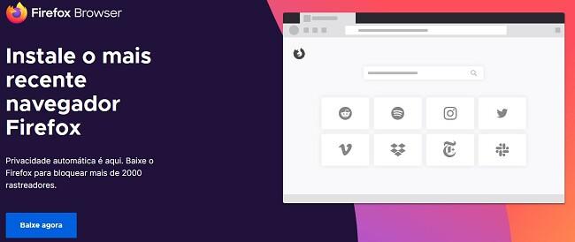 Página de download do Firefox