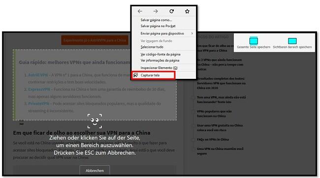 Ferramenta de captura de tela do Firefox
