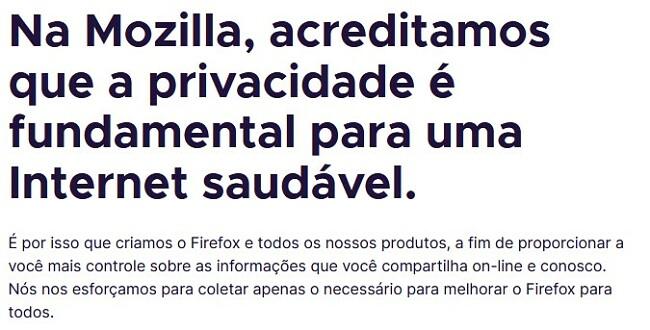 Declaração de privacidade do Firefox