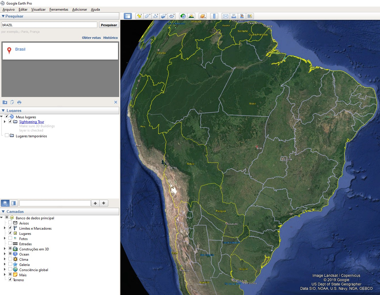 Interface do usuário do Google Earth Pro