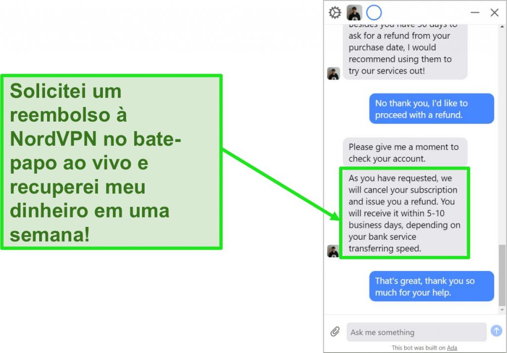 Captura de tela de um cliente solicitando um reembolso com a garantia de reembolso de 30 dias no chat ao vivo do NordVPN
