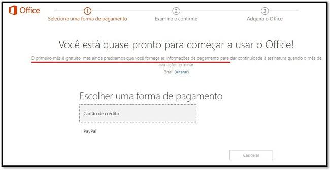 O primeiro mês do Office 365 é gratuito