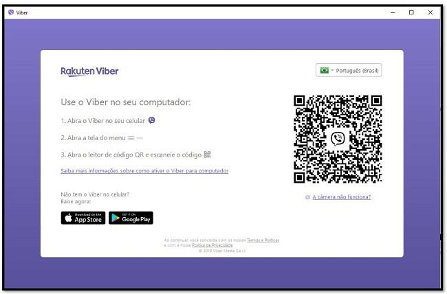 Digitalize o código QR para usar o Viber no computador