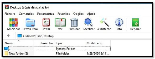 Tela inicial do WinRAR
