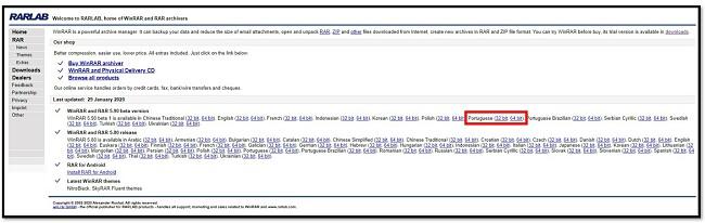 Página de download do WinRAR