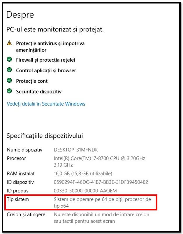 Setări sistem WinRAR
