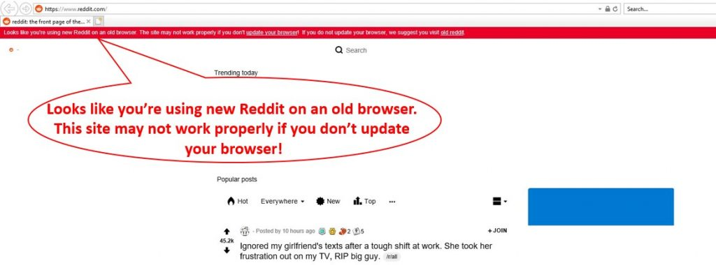 Reddit won't display in IE