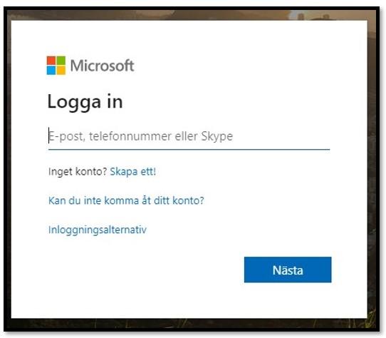 Microsoft-inloggningssida