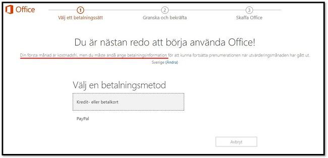 Den första månaden på Office 365 är gratis
