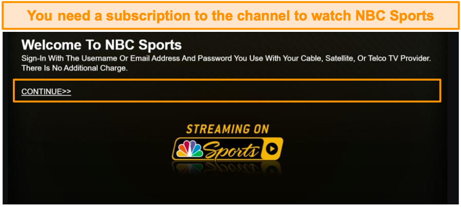 You need a subscription to watch NBC Sports.