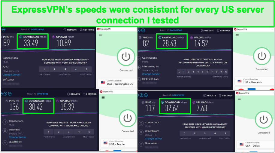 ExpressVPN's US servers are fast enough for streaming in HD!