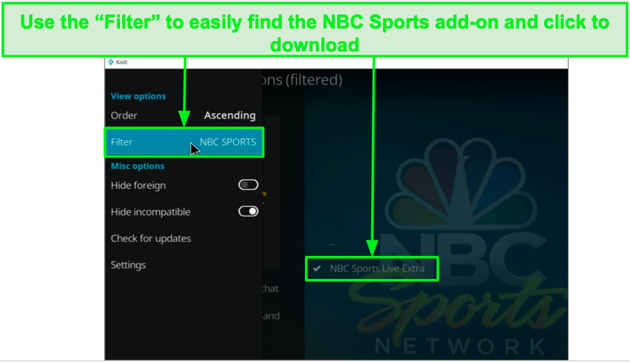 Download the NBC Sports add-on on Kodi with ExpressVPN.
