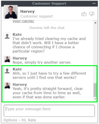 NordVPN's customer service agents are responsive and helpful.