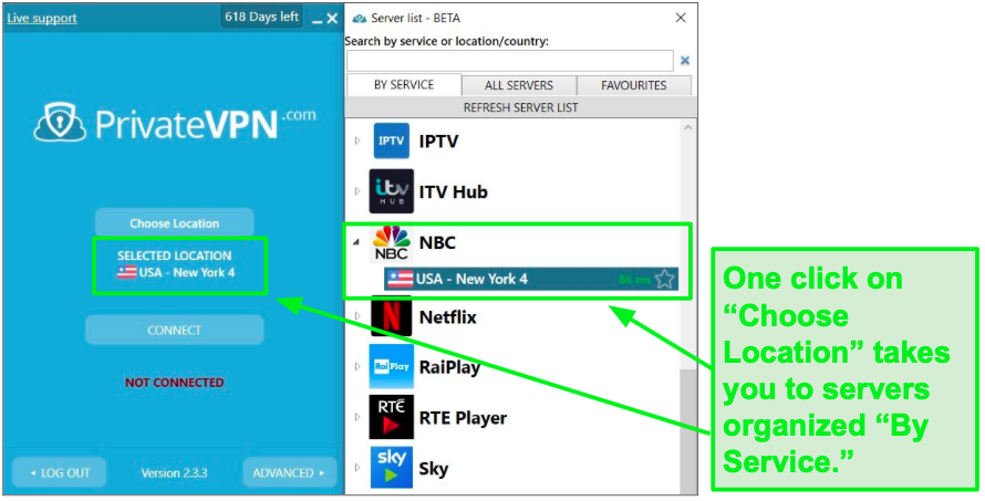 PrivateVPN has servers specifically for streaming NBC.