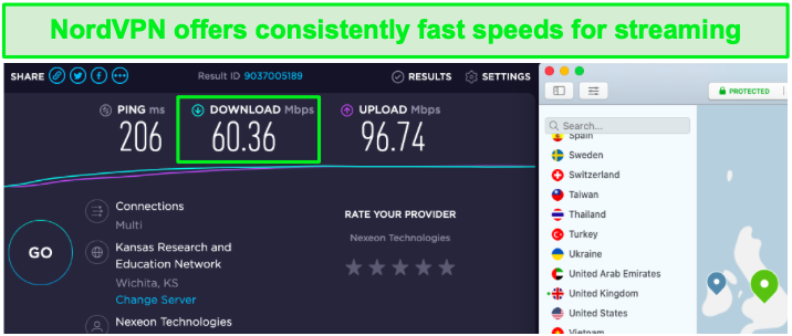 Speed test results for NordVPN's UK servers.