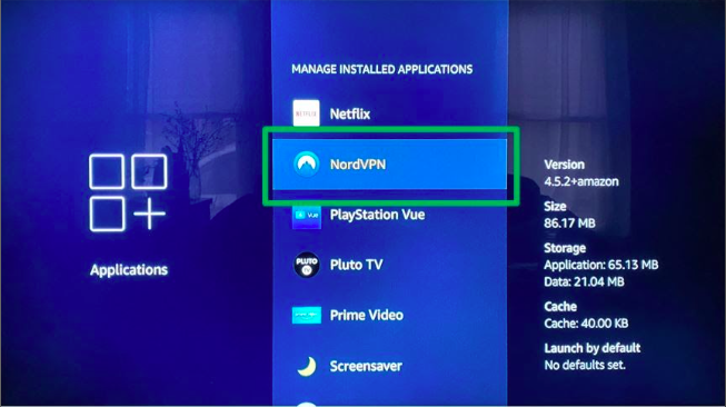 Find your VPN's app in the settings on your Fire TV.