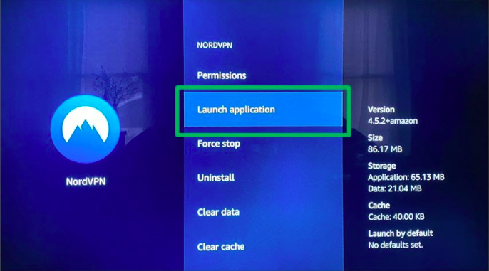 Launch the application in the settings on your Fire TV.