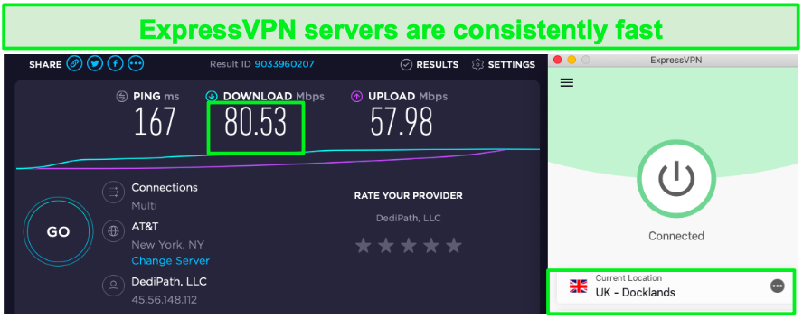 Screenshot of ExpressVPN speed test.