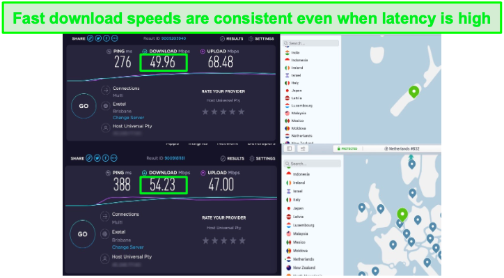 NordVPN's speeds are fast enough for UltraHD streaming with Disney+ in the US, Australia, New Zealand, and the Netherlands.