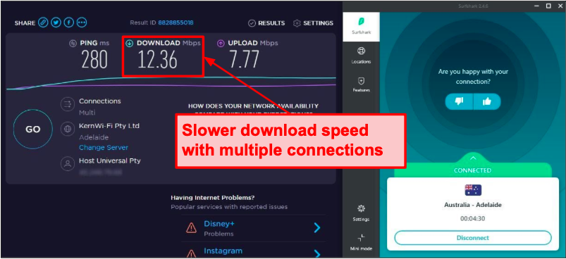Surfshark connection speeds slow down when streaming on multiple devices.