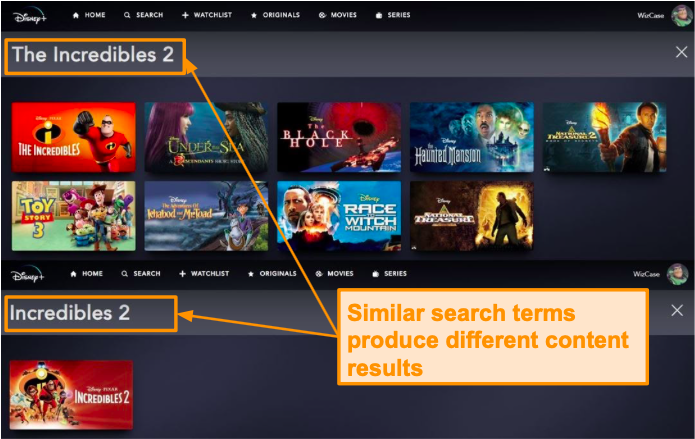 Incredibles 2 and The Incredibles 2 give different search results on Disney+.