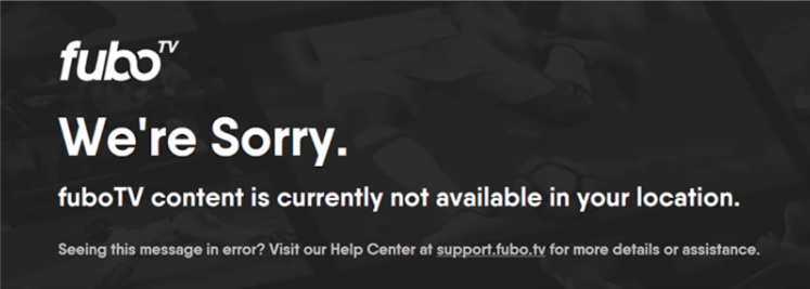 fuboTV location error message.