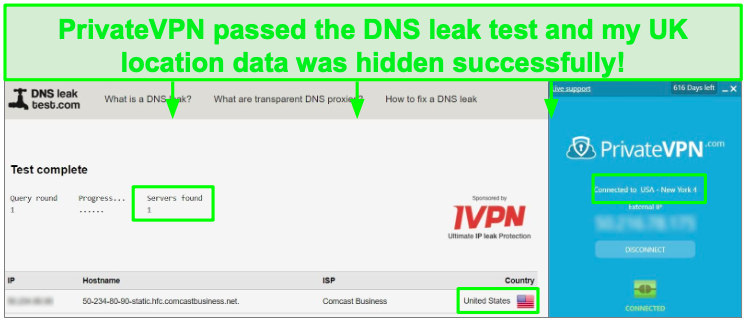 DNS leak test with PrivateVPN.
