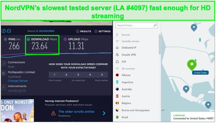 Speed test on NordVPN servers.