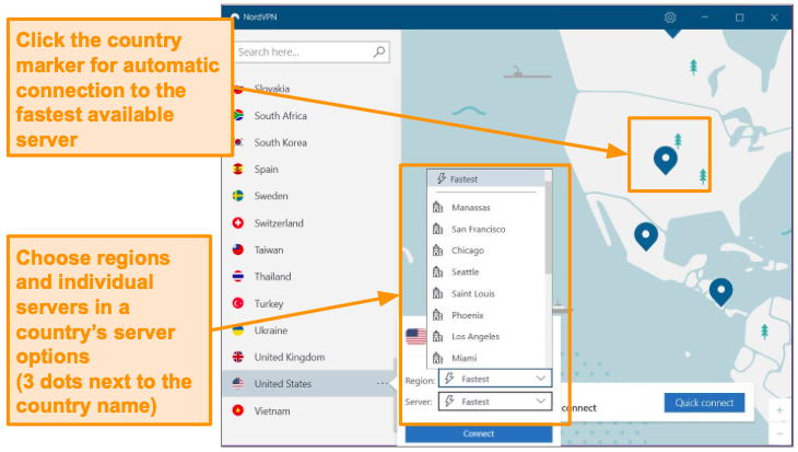 Screenshot of NordVPN server selection.