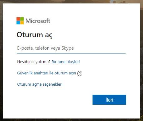 Microsoft oturum açma sayfası
