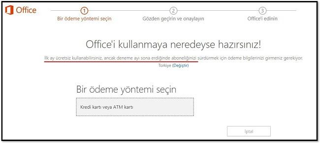 Office 365'in ilk ayı ücretsiz