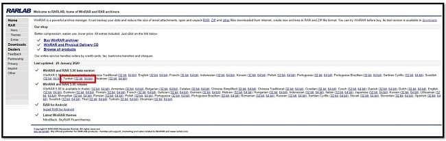WinRAR İndirme sayfası