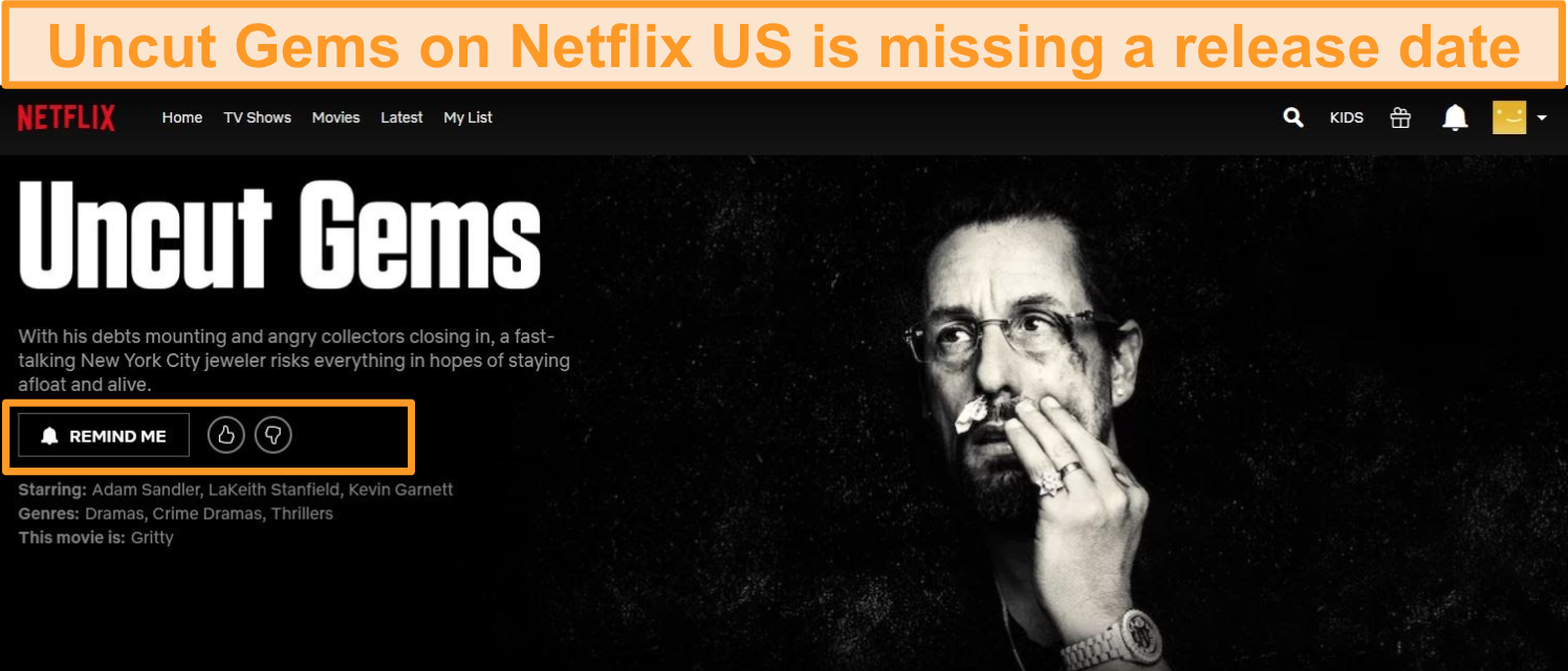 Screenshot of Uncut Gems on Netflix US showing no release date
