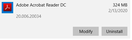 הסר את התקנת Adobe Acrobat Reader DC