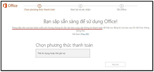 Tháng đầu tiên của Office 365 miễn phí
