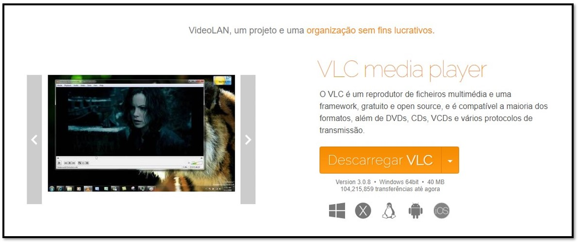 Página oficial de download do VLC