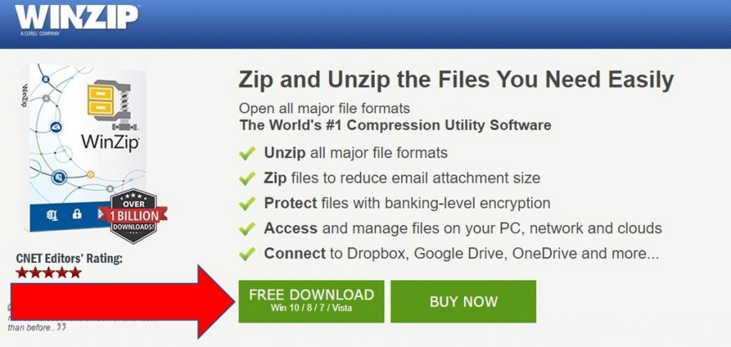 WinZip download page