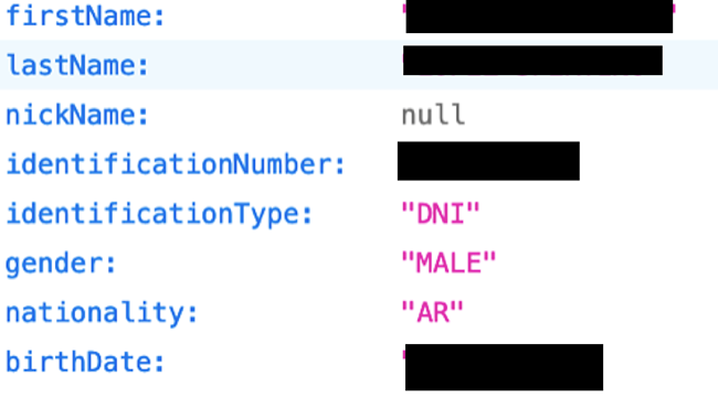 Screenshot of Zaldivar redacted leak data
