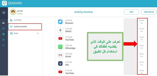 ملخص التطبيق باستخدام Qustodio